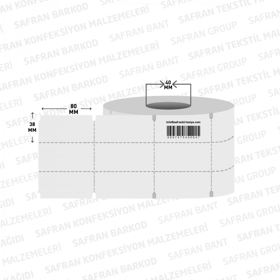 100 X 38 TERMAL KARTON RAF ETİKETİ ORTA ÇENTİKLİ ( 350 li )